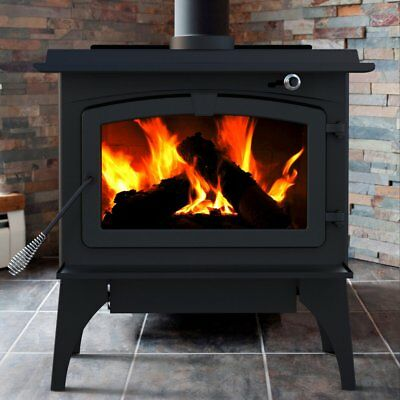 Pleasant Hearth Medium Wood Burning Stove with Blower - Black