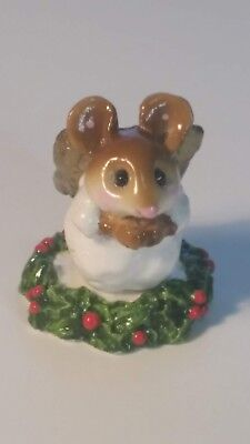 Wee Forest Folk Figurine PAGEANT ANGEL WITH HOLLY M- 145b Signed AP 1987