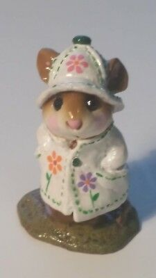 Wee Forest Folk M-180 April Showers RETIRED special white with flowers 1991