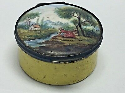ANTIQUE 18th CENTURY FRENCH HAND PAINTED ENAMEL SNUFF BOX