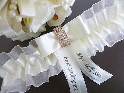 Personalised Wedding/Hen Garter White Or Ivory Gold/Silver Diamante Bar