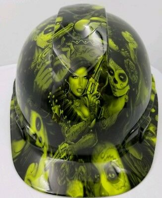 Hard Hat custom hydro dipped , OSHA approved TATTOO BABES LIME GREEN
