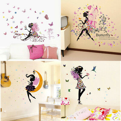BUTTERFLY FLOWER FAIRY Girls Bedroom Window Wall Stickers Removable Home  Decor