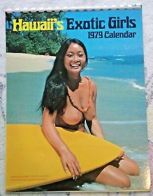 vtg 1979 HAWAII'S EXOTIC GIRLS calendar - un-used nude surfboard pin-up mancave