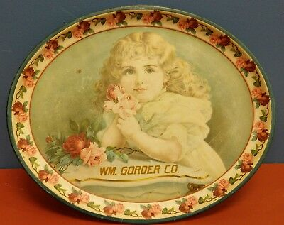 Rare Antique William Gorder Co. Advertising Litho Tin Tray Watertown, Wi - Cute!