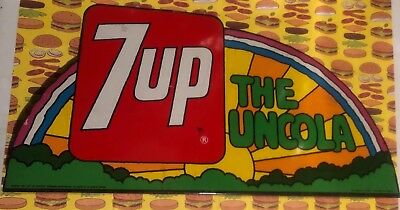 "Vintage 1970's Stout Co. 7 Up ""The Unclola"" Rainbow Metal Advertising Sign"