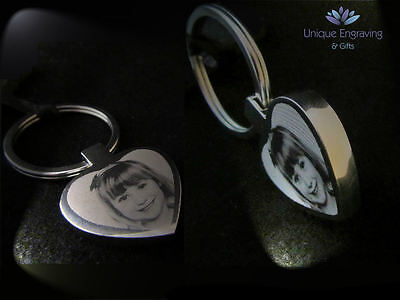 Personalised Photo Engraved Heart Keyring Keychain - Great Christmas Gift!