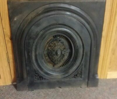 ANTIQUE CAST IRON FIREPLACE SURROUND WITH SUMMER COVER 2 PIECE SET( pat. 1871)