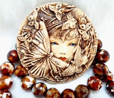 Polymer Clay Burnt Umber  Butterfly Fairy Face  Cabochon With Loose Strand