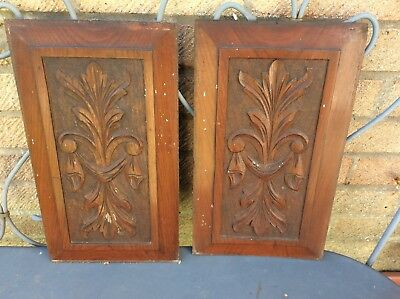 Antique Pair Wood Carved Panels Edwardian - 38 x 21 cms