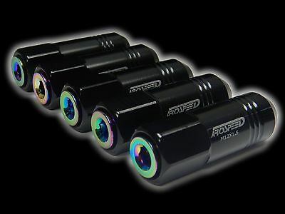 20Pc 12X1.5Mm 60Mm Extended Aluminum Tuner Racing Capped Lug Nuts Black/neo C