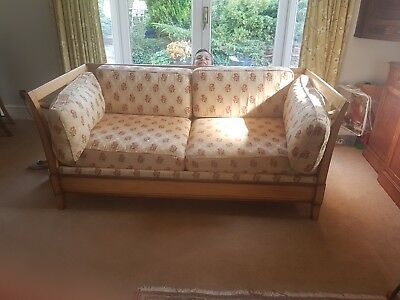 French day bed sofa bed Hardwood Frame with beautiful Vintage floral cushions.