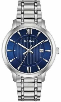 Bulova Quartz Blue Dial Stainless Steel Bracelet Men's Dress Watch 96B282