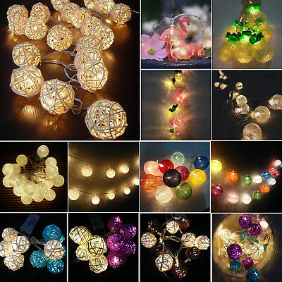 Battery Operated LED Balls String Fairy Lights Wedding Party Home Garden Decor