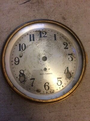 Seth Thomas Tambour Mantle Clock Dial & Bezel With Glass From 89L Movement