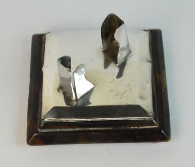 Solid Silver and Faux Tortoiseshell Miniature Playing Cards Menu Holder
