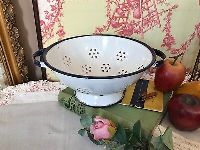 Vintage Colander Retro White & Navy Metal Enamel Strainer Kitchenalia