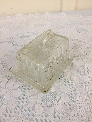 Crystal Cut Glass Butter Dish