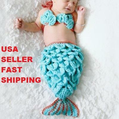 Baby's First Halloween 2 Piece Mermaid Costume Photo Pro 0-6 months Hand Made