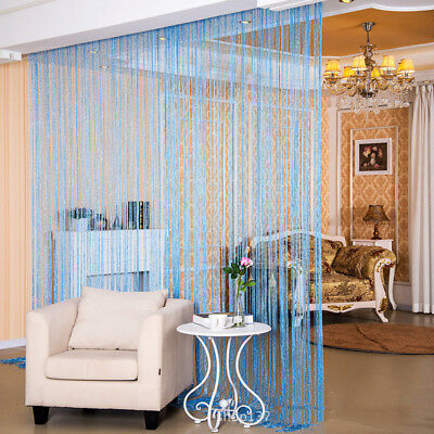 Shiny Tassel Flash Silver Line String Curtain Window Door Divider Colorful Sheer