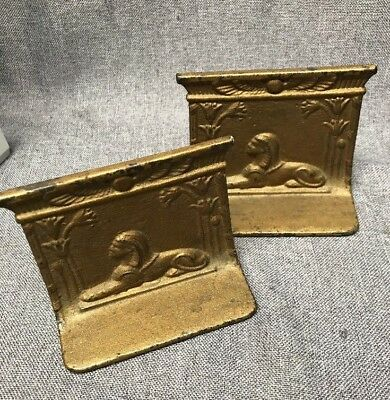 Antique Cast Iron / Metal Sphinx Egyptian Bronze Bookends