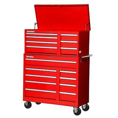 Red Rolling Cabinet Tool Chest Set Lockable Workshop Storage 42 In. 16  Drawer