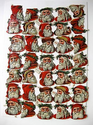 35 Die Cut Vintage Santa Head Scraps Made in Germany #1863