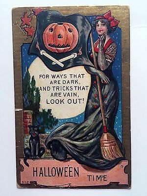 1910 Halloween Postcard w/ Witch Pumpkin Black Cat Halloween Time