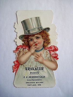 "Grande Stand-Up Victoriana Trade Tarjeta ""Krakauer Pianos"" - Frances Brundage"