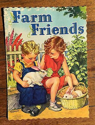 Lot of 6 1940s Childrens Books 4 are Linen Baby Kittens Mother Goose Farm Friend
