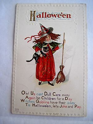 Halloween Vintage Postcard w/ Witch, Broom and Black Cat