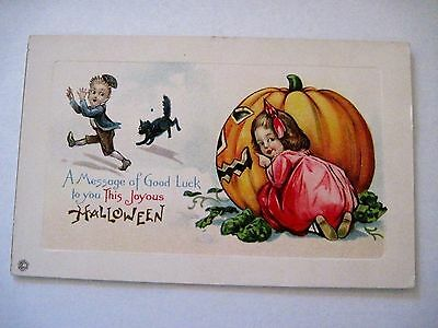 Vintage Halloween Postcard w/ Large Pumpkin and Black Cat