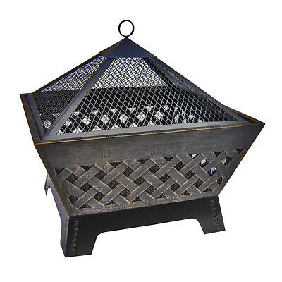 Antique Bronze Steel 26.3-in W Vinyl Cover Wood-Burning Fire Pit with Log Grate