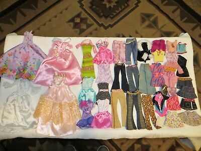 Barbie Doll Size Clothes Lot~38 Pieces~Long Fancy Gowns, Dresses, Jeans, Tops++