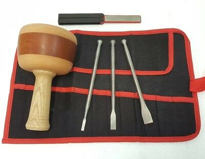 Stone Carving Kit 6pc Professional Quality Stonemason tools with Hardwood Mallet