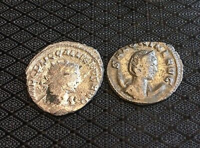 Lot Of 2 Ancient Roman Coins:Silvered Antoninianus Of Gallienus&wife Salonina~VF