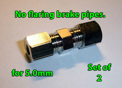 Brake Line Pipe Inline Connector Coupler no flare 5.0mm