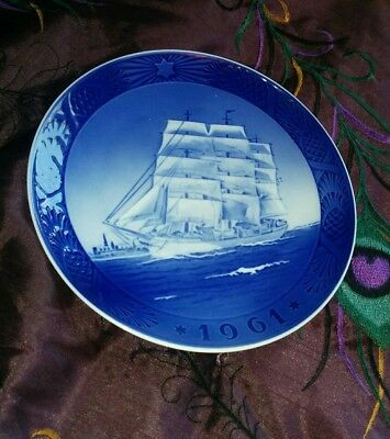 Royal Copenhagen 1961 Christmas Plate The Training Ship Vintage Collectible Rare