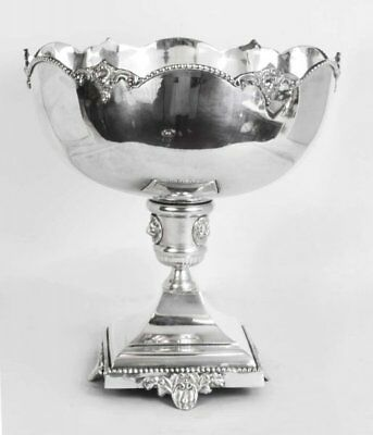 Nickel Plated Champagne Coolers Punch Bowls With Lion Face On Base
