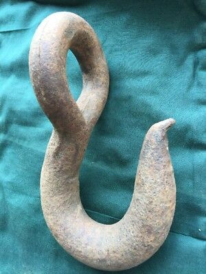 Old Large Cast Iron HOOK Industrial Farm Hay Ship Antique Architectural Maritime
