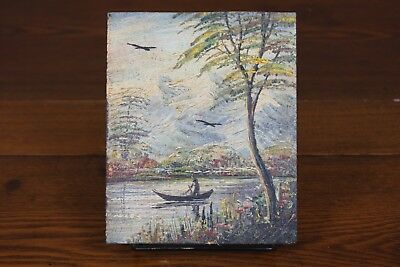 Vtg Scenic Mini Oil Painting Signed Wood Board Tree River Canoe Boat Landscape