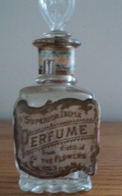 """Antique Apple Blossom Perfume Bottle """"SUPERIOR TRIPLE Distilled From THE FLOWERS"""