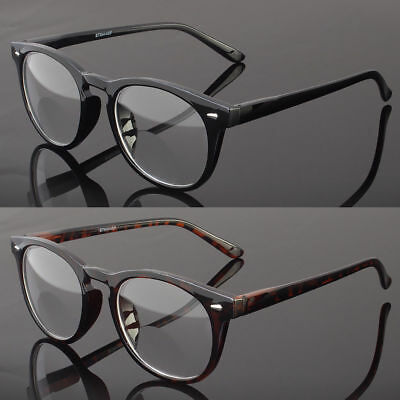 Bifocal Reading Glasses Retro Round Clubmaster Mens Womens Spring Temple