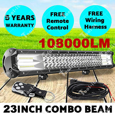 23'' Philips LED Light Bar Spot Flood Offroad Driving Work 4x4 Truck with Remote