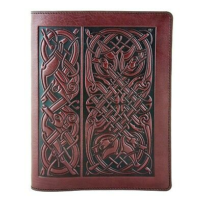 Celtic Hounds Leather Composition Notebook Cover wine 8.25x10.25 Oberon Design