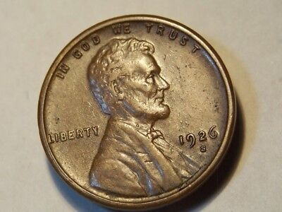 1926-S Lincoln Wheat Cent Beautiful Moms Estate Wheat Lines Au Coin! #406