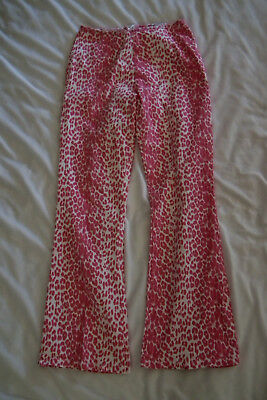 "Vintage Bell Bottom Pants by ""M BASICS"" Hot Pink Leopard Print-SMALL-Great Shape"