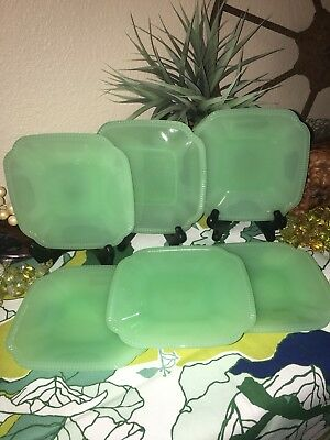 6 Hearth and Hand Magnolia Green Jadeite Glass Appetizer Plate Rustic Lot of 6