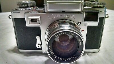 """CONTAX CAMERA WITH STUNNING ZEISS 50mm LENS """" IT WORKS """" TESTED!!! SUPER CLEAN!"""