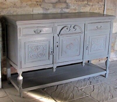 Beautiful Painted Oak Chic Antique Victorian Carved Cupboard Sideboard